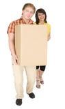mężczyzna niedźwiadkowa duży pudełkowata kartonowa kobieta Obrazy Stock