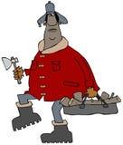 Mężczyzna niesie ładunek rozszczepiony drewno Zdjęcia Royalty Free