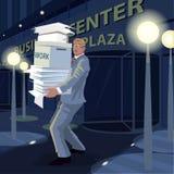 Mężczyzna niesie dokumenty od biura stwarzać ognisko domowe przy nocą ilustracji