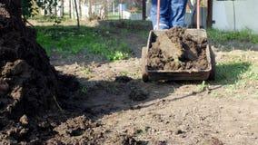 Mężczyzna niesie ogrodową furę z nawozem dla transportu wokoło ogródu, nawozi ziemię, kraj chałupy teren zbiory