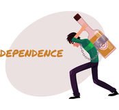 Mężczyzna niesie ogromną trunek butelkę na jego z powrotem, alkohol zależność ilustracja wektor