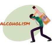 Mężczyzna niesie ogromną trunek butelkę na jego z powrotem, alkohol zależność royalty ilustracja