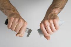 mężczyzna nożowy chapnąć Fotografia Stock