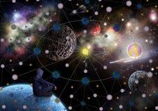 Mężczyzna obsiadanie na planet spojrzeniach w przestrzeń zdjęcie royalty free