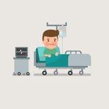 Mężczyzna odpoczywa przy łóżkiem szpitalnym Zdjęcia Royalty Free