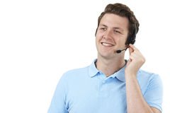 Mężczyzna odpowiadania wezwania W obsługa klienta dziale Zdjęcie Stock