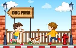 Mężczyzna odprowadzenia pies być prześladowanym parka ilustracja wektor