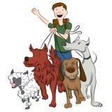 Mężczyzna odprowadzenia psy ilustracji