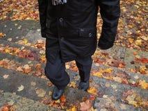 Mężczyzna odprowadzenie na schodkach zakrywających z jesień liśćmi zdjęcie royalty free