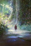 Mężczyzna odprowadzenie w pięknym lesie ilustracji