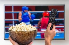 Mężczyzna ogląda bokserskiego dopasowanie na TV Fotografia Royalty Free