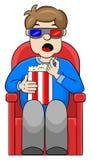 Mężczyzna ogląda 3D film w kinie Fotografia Royalty Free