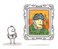 Mężczyzna ogląda sławnego obraz ilustracji