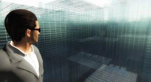 Mężczyzna ogląda siatki miasto ilustracji