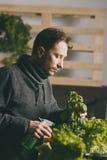 Mężczyzna ostrożnie iryguje rośliny zdjęcia stock
