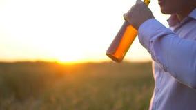Mężczyzna otwiera butelkę piwo na tle dojrzały pszeniczny pole przy zmierzchem Mężczyzna ` s ręka otwiera butelkę piwo Słońce obi zbiory