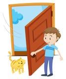 Mężczyzna otwiera drzwi dla zwierzę domowe kota ilustracji