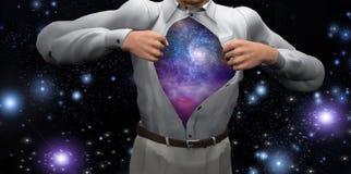 Mężczyzna otwiera koszula wyjawiać galaxies royalty ilustracja