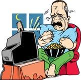 Mężczyzna płacz podczas gdy oglądający telewizję royalty ilustracja
