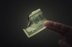 Mężczyzna pali dolara Obraz Royalty Free