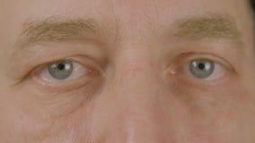 Mężczyzna patrzeje frontową kamerę zamkniętą w górę i mruga z rozpieczętowanymi oczami Makro- samiec oczy zdjęcie wideo
