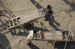 Mężczyzna pcha drewniane fury na zakurzonym targowym kwadracie - Akcyjna fotografia Fotografia Royalty Free