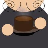 Mężczyzna piją filiżankę kawy ilustracja wektor