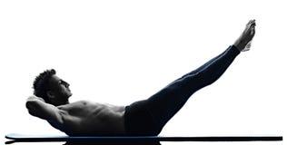 Mężczyzna pilates ćwiczeń sprawność fizyczna odizolowywająca obraz stock