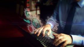 Mężczyzna pisać na maszynie na klawiaturze z zarządzanie danymi hologramem royalty ilustracja
