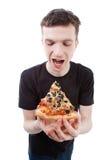mężczyzna pizza obraz stock