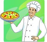 mężczyzna pizza ilustracja wektor