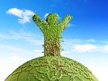 mężczyzna planety symboliczny drzewo Obraz Royalty Free