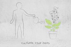 Mężczyzna podlewania roślina z żarówką r z go, kultywuje royalty ilustracja