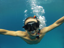 Mężczyzna podwodni zdjęcie royalty free