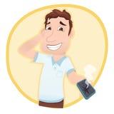 Mężczyzna pokazuje łamającego telefon Fotografia Royalty Free