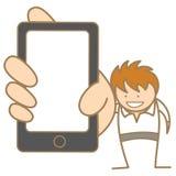 Mężczyzna pokazuje wiadomość na telefon komórkowy Fotografia Royalty Free