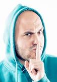 Mężczyzna pokazuje znaka cisza fotografia stock