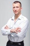 Mężczyzna pomyślny młody agresywny biznesmen Zdjęcia Royalty Free
