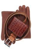 Mężczyzna portfel, pasek i rękawiczki, obraz stock