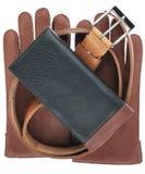 Mężczyzna portfel, pasek i rękawiczki, fotografia stock