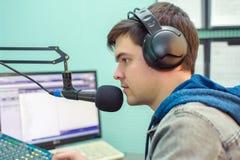 Mężczyzna portreta radio DJ Obrazy Royalty Free
