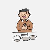 Mężczyzna posiłek z ryż ilustracja wektor