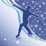 Mężczyzna postaci łyżwy. Projekta szablon z płatkami śniegu  Ilustracja Wektor