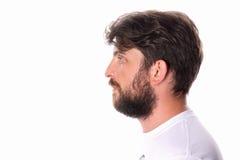 Mężczyzna pozyci profil w białej koszulce z bliska Obraz Stock