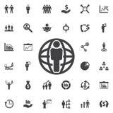 Mężczyzna pozycja na kuli ziemskiej ikonie royalty ilustracja