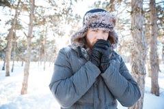 Mężczyzna pozycja w zima parku Zdjęcie Royalty Free