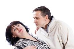 Mężczyzna próby całować kobiety obrazy stock