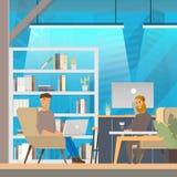 Mężczyzna praca w Openspace Coworking biurze ilustracji
