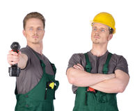 Mężczyzna pracownik budowlany z elektrycznym śrubokrętem Zdjęcie Stock