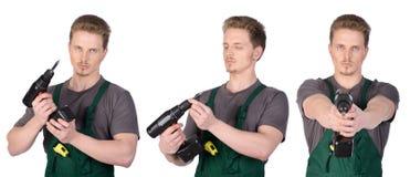 Mężczyzna pracownik budowlany z elektrycznym śrubokrętem Obrazy Stock